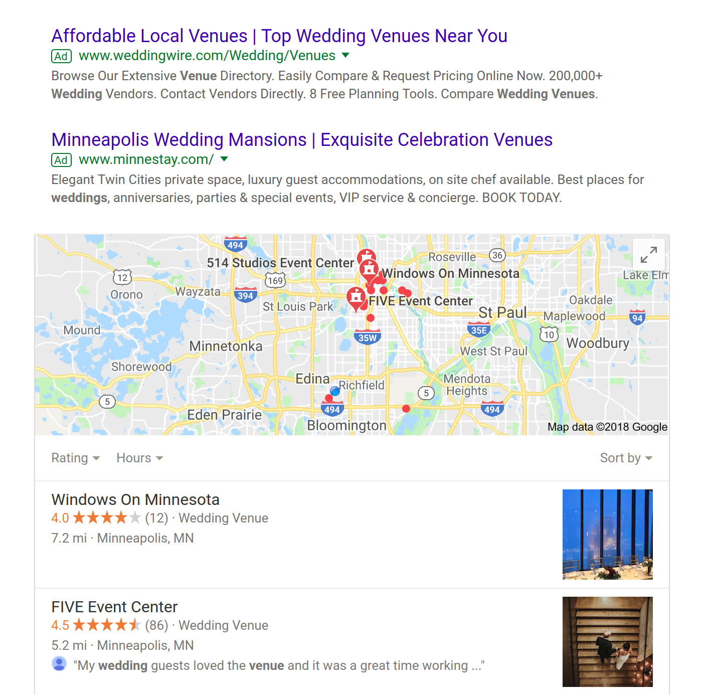 google search results of wedding venue