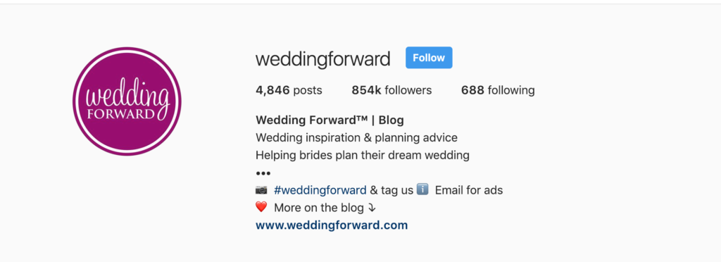 Screen shot of the instagram account weddingforwad's bio