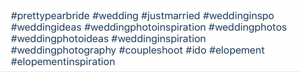 compilation of wedding relevant hashtags