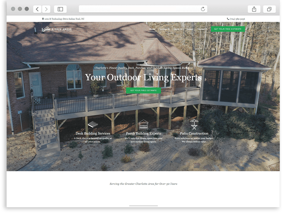 A Deck Above home page