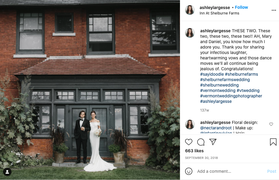 Screen shot of the instagram account ashleylargesse's post shouting out the bride and groom.
