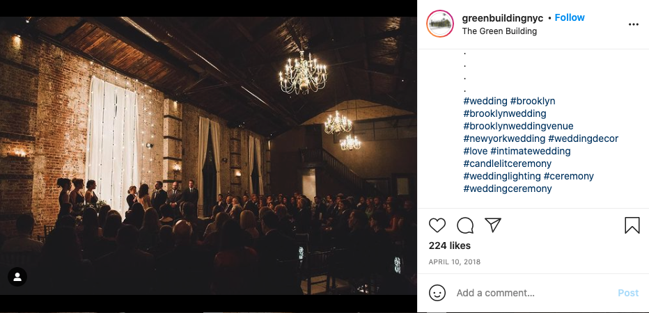 Screen shot from the instagram account greenbuildingnyc's post showing how to write relevant hashtags.
