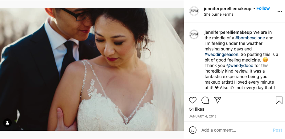 Screen shot of the instagram account jenniferperelliemakeup's post shouting out the married couple.