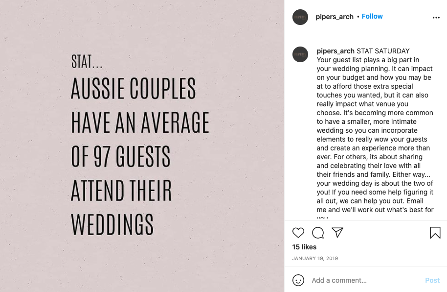 """Stat that """"Aussie couples have an average of 97 guests attend their weddings."""""""