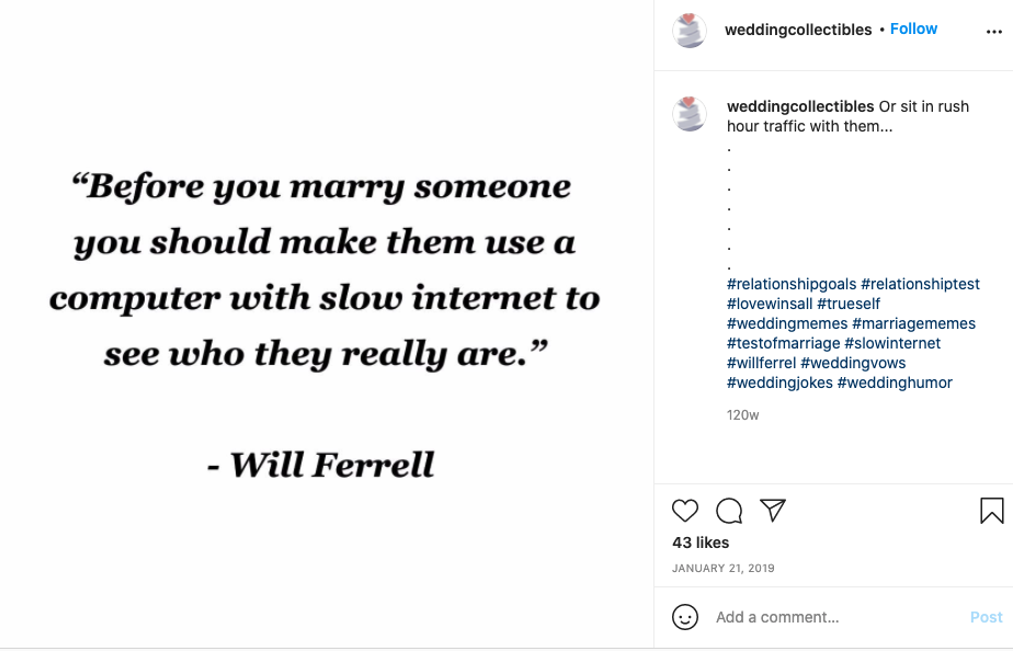 """Will Ferrell says """"Before you marry someone you should make them use a computer with slow internet to see who they really are."""""""